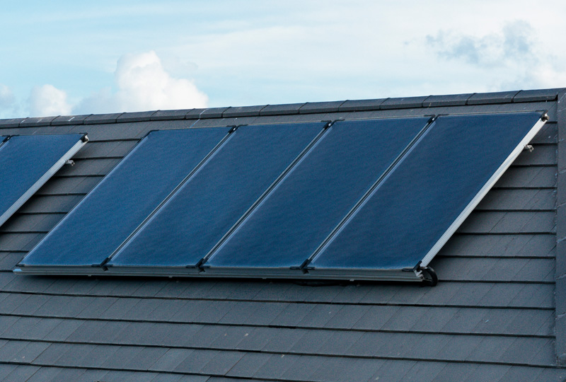 Solar thermal panels at Churchlands Delgany